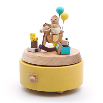 Jeancard枫木木质宝贝木马旋转八音盒音乐盒创意生日情人节礼物送儿童