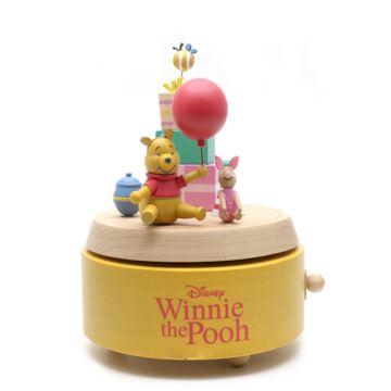 Jeancard枫木木质旋转迪士尼小熊八音盒音乐盒创意生日礼物送男女