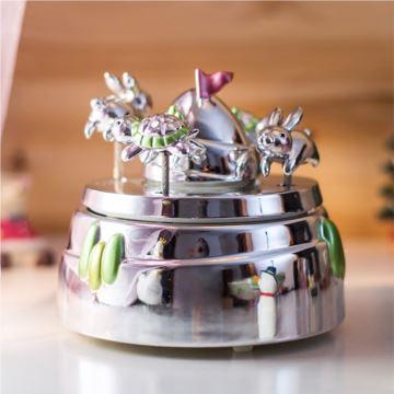 Jarll赞尔龟兔赛跑旋转八音盒音乐盒创意生日礼物送男女生儿童