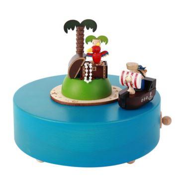 Jeancard台湾木质宝藏笑岛旋转八音盒音乐盒创意生日儿童节礼物