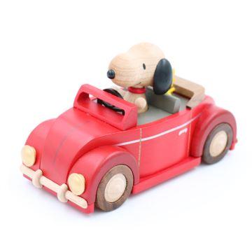 Jeancard台湾木质史努比开车八音盒音乐盒创意生日礼物六一儿童节礼物