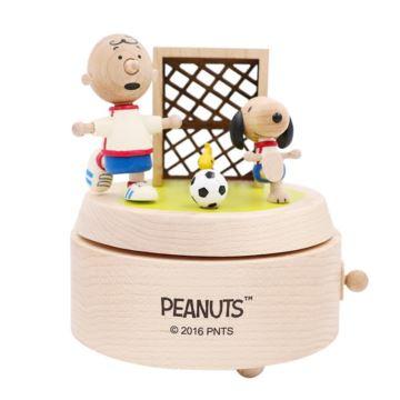 Jeancard台湾木质史努比足球旋转八音盒音乐盒创意生日礼物送男生