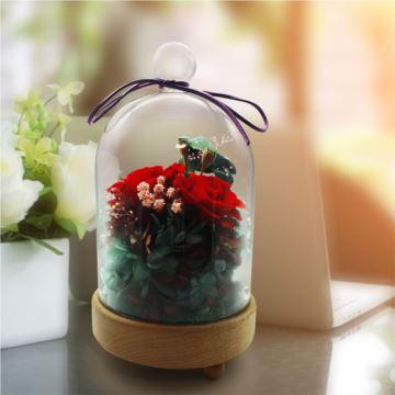 永生花玫瑰玻璃八音盒音乐盒天空之城创意生日礼物结婚礼品送老婆女生