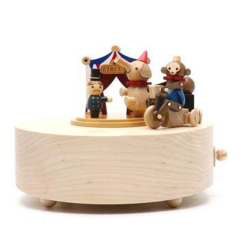 Jeancard台湾木质马戏团小猴骑车旋转八音盒音乐盒创意生日礼物送男生