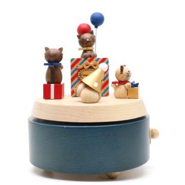 Jeancard台湾木质猫咪祝福旋转八音盒音乐盒创意生日礼物送男女生