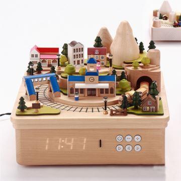 Jeancard台湾木质旋转旅行火车八音盒音乐盒DIY创意生日礼物送男女生