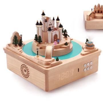 Jeancard台湾木质旋转梦幻城爆八音盒音乐盒DIY创意生日礼物送男女生