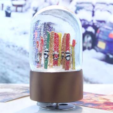 瑞士进口滑雪板雪花旋转发光水晶球八音盒音乐盒创意生日礼物送男女生