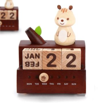 Jeancard台湾木质旋转松鼠万年历八音盒音乐盒创意生日礼物送男女友