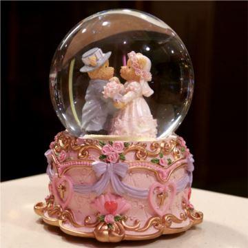 自飘雪花旋转小熊跳舞水晶球八音盒音乐盒创意生日结婚礼物送男女生