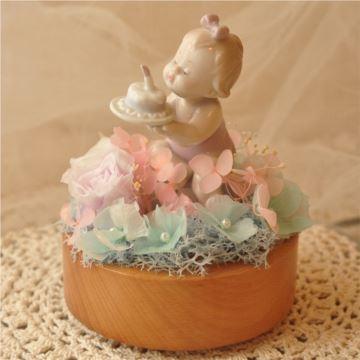永生花小女孩生日蛋糕旋转八音盒音乐盒创意生日儿童节礼物刻字定制