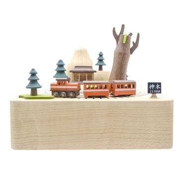 Jeancard木质旋转阿里山火车八音盒音乐盒创意生日礼物送男女生刻字定制