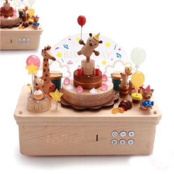 jeancard台湾木质旋转小熊蛋糕八音盒音乐盒创意生日礼物送男女生