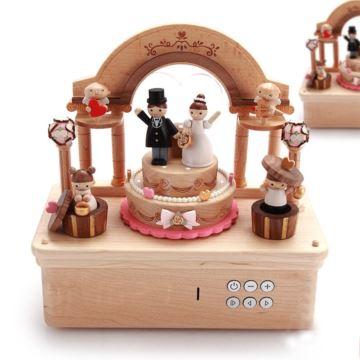 jeancard台湾木质新郎新娘旋转八音盒音乐盒创意结婚礼物周年纪念品送老婆男女友