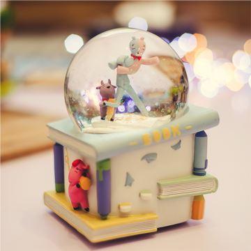 Jarll赞尔内旋飘亮片雪花水晶球八音盒音乐盒萌趣学校创意生日礼物送小孩儿童