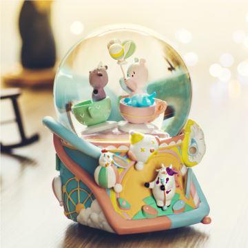Jarll赞尔带雪花亮光内旋水晶球八音盒音乐盒萌趣游乐场创意生日礼物