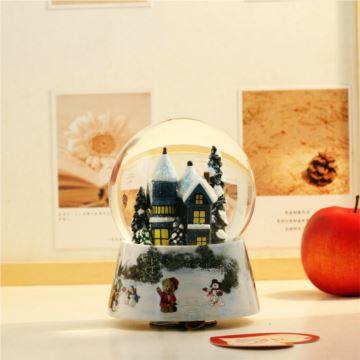 台湾万山旋转飘亮片带灯雪屋城堡水晶球八音盒音乐盒平安夜创意生日圣诞节礼物