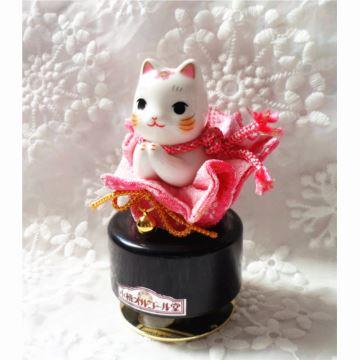 日本进口小樽陶瓷旋转招财猫八音盒音乐盒创意生日礼物送男女生