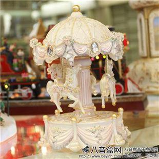 台湾万山彩灯光旋转木马音乐盒八音盒创意送女生日礼物天空之城精品
