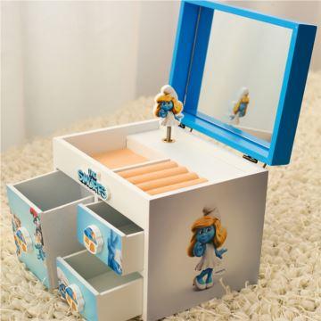ILOVEST蓝精灵木质旋转首饰盒八音盒音乐盒创意生日七夕礼物送女生