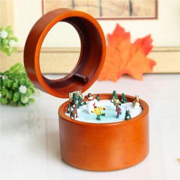 Sankyo木质旋转溜冰雪人八音盒音乐盒圣诞节新年创意礼物刻字定制