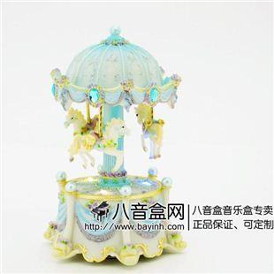 台湾万山发光彩灯旋转木马音乐盒八音盒 记忆创意送女生日圣诞礼物精品