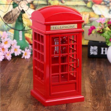 ILVOEST木质红色电话亭八音盒音乐盒创意情人节礼物生日送男朋友女生