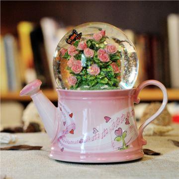 Jarll赞尔自飘雪花旋转浇花器八音盒音乐盒创意生日结婚礼物送老婆女生