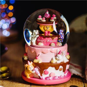 JARLL赞尔旋转发光小熊生日蛋糕水晶球八音盒音乐盒创意生日礼物