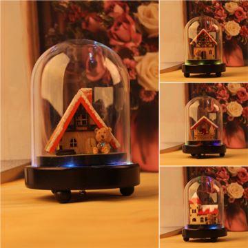 旋转彩灯玻璃罩八音盒音乐盒天空之城创意生日儿童节礼物送男女生