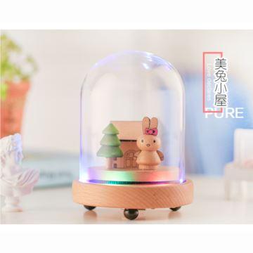 旋转七彩灯小熊水晶球八音盒音乐盒创意生日圣诞节礼物送男女生