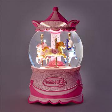 JARLL赞尔Hellokitty自喷亮带灯旋转水晶球八音盒音乐盒创意生日圣诞节礼物