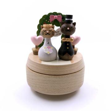台湾Jeancard花园婚礼猫咪旋转八音盒音乐盒创意结婚礼物送老婆周年纪念