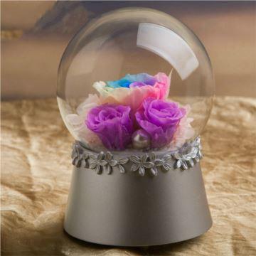 玫瑰永生花水晶球八音盒音乐盒创意生日情人节结婚圣诞节礼物送男女生