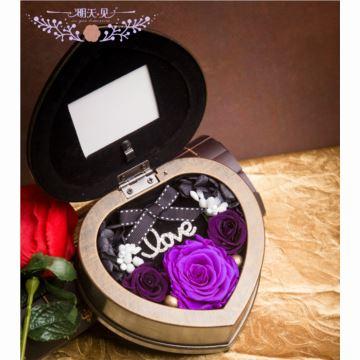 玫瑰永生花心形相框八音盒音乐盒创意生日情人节结婚圣诞节礼物送男女生