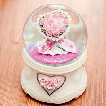 JARLL自动飘雪花玫瑰水晶球八音盒音乐盒创意结婚情人节礼物送男女生