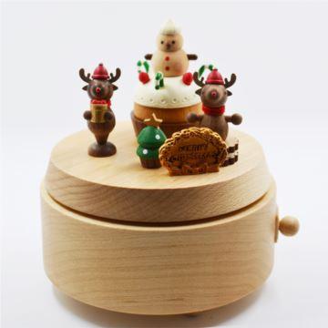 Jeancard台湾木质旋转麋鹿八音盒音乐盒圣诞节创意礼物送男女生刻字