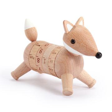 Jeancard台湾木质可爱狐狸万年历摆件创意生日圣诞节礼物送男女生
