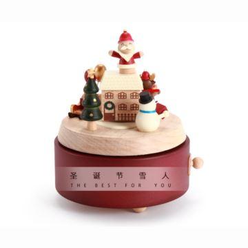 Jeancard台湾木质旋转圣诞雪人八音盒音乐盒创意生日圣诞节礼物送男女