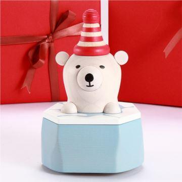Jeancard台湾木质北极熊音乐盒八音盒创意圣诞节新年礼物送男女生