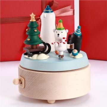 Jeancard台湾木质北极熊溜冰音乐盒八音盒圣诞节新年创意礼物送孩子