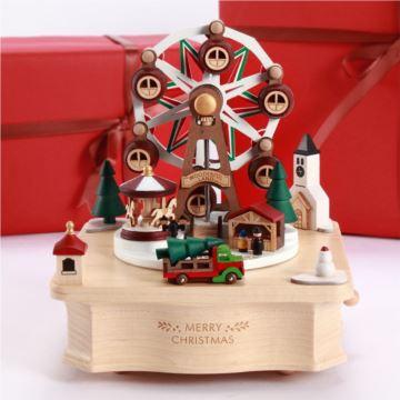 Jeancard台湾木质集市摩天轮音乐盒八音盒圣诞节新年创意礼物送女儿童