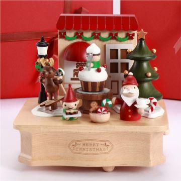 Jeancard台湾木质麋鹿滑雪音乐盒八音盒圣诞节生日新年创意礼物送男女