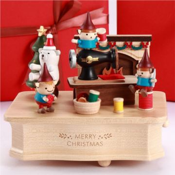 Jeancard台湾木质精灵梦工厂音乐盒八音盒圣诞节新年创意礼物送男女