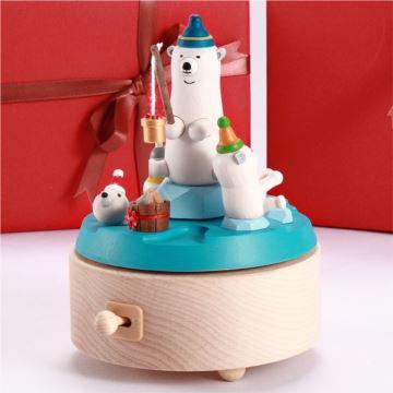 Jeancard台湾木质北极熊钓鱼音乐盒八音盒圣诞节元旦新年礼物送男女儿童