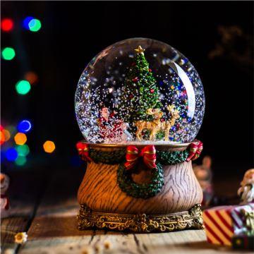 Jarll赞尔自动飘雪花旋转水晶球音乐盒八音盒创意圣诞节新年礼物送男女