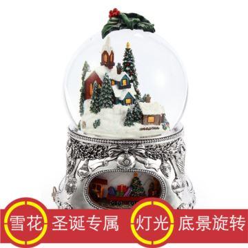 Jarll赞尔自动飘雪花旋转圣诞树水晶球音乐盒八音盒创意圣诞节新年礼物