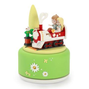 陶瓷旋转幸福列车八音盒音乐盒天空之城创意情人节圣诞节礼物送男女浪漫
