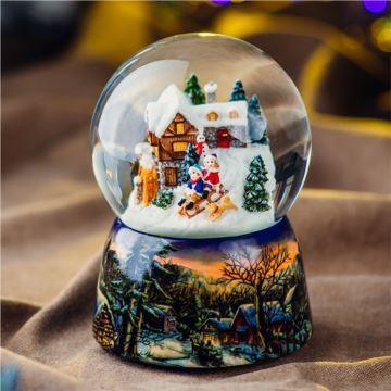 Jarll赞尔旋转飘雪花滑雪娃娃水晶球八音盒音乐盒圣诞节元旦创意礼物