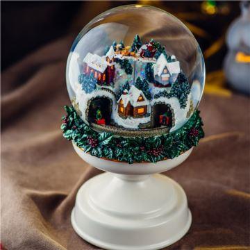 Jarll赞尔圣诞老公公旋转飘雪花水晶球八音盒音乐盒元旦新年创意礼物